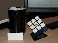 My oblique strategies coffee cup and my Rubik's cube that I like to play with.