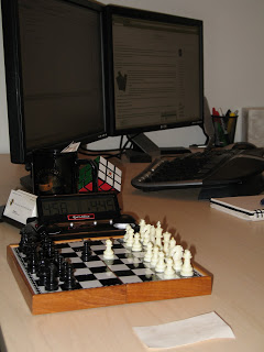 My desk with the chessboard